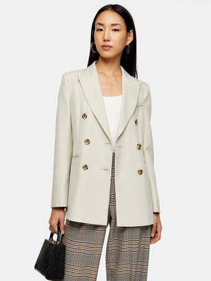 Topshop Six Button Double Breasted Suit Blazer - Ivory