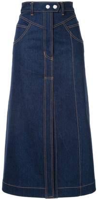 Ellery Traffic panelled denim skirt