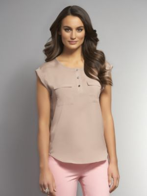 New York & Co. Two-Pocket Blouse with Cuffed Sleeves