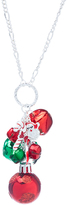 Carole Metallic Red & Green Bell Charm Pendant Necklace