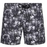Hugo Quick-dry short-length swim shorts with collection print