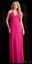 Scala Chiffon Sequin Beaded A-line Evening Dress