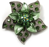 Avalaya 3D Enamel Crystal Flower Brooch (Light )