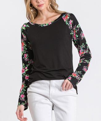Cool Melon Women's Tee Shirts Black - Black & Fuchsia Floral Raglan Tee - Women