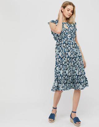 Monsoon Loana Floral Frill Midi Dress Blue