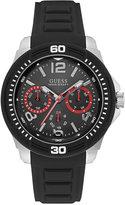 GUESS Men's Black Silicone Strap Watch 46mm U0967G1