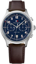 Tommy Hilfiger Men's Brown Leather Strap Watch 44mm