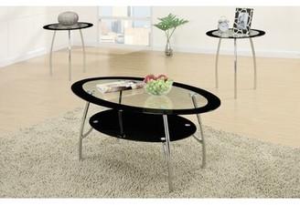 Ebern Designs Chmura Oval Edge Glass Top 3 Piece Coffee Table Set