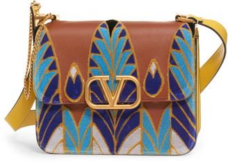 Valentino V-Sling Embroidered Shoulder Bag