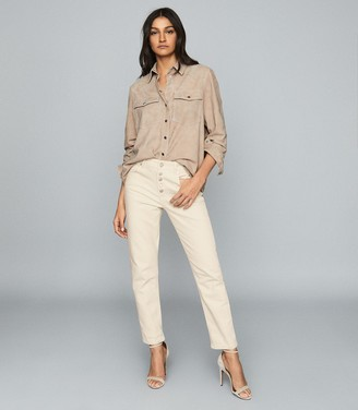 Reiss Bailey - Mid Rise Slim Cut Jeans in Ecru