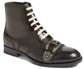 Gucci Men's Queercore Buckle Strap Wingtip Boot