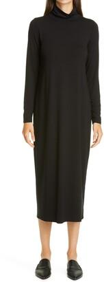Eileen Fisher Scrunch Neck Long Sleeve Jersey Dress