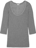 Hanro Tia Lace-trimmed Ribbed Cotton And Cashmere-blend Top - Gray