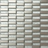 30x30cm Silver Brushed Stainless Steel and Silver Pattern Random Mix Mosaic Tiles (MT0103) by Grand Taps
