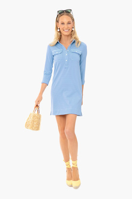 Vineyard Vines Crystal Blue Striped Margot Shirt Dress