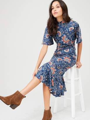 Very Flute Sleeve Midi Jersey Dress - Paisley