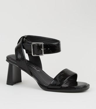 New Look Crinkle Patent 2 Part Block Heels