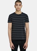 Saint Laurent Men's Crew Neck Striped T-shirt In Black