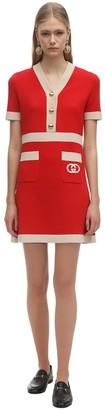 Gucci Short Sleeve Wool Knit Mini Dress