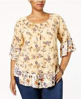 Style&Co. Style & Co Plus Size Printed Ruffled Off-The-Shoulder Blouse, Created for Macy's