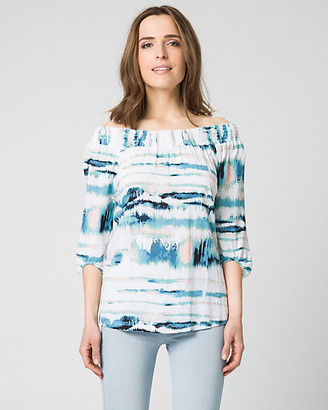 Le Château Abstract Print Challis Off-the-Shoulder Top