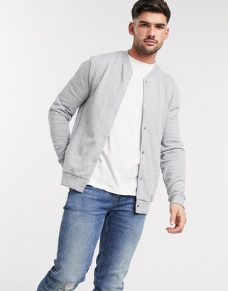 ASOS DESIGN organic jersey bomber jacket with poppers in gray