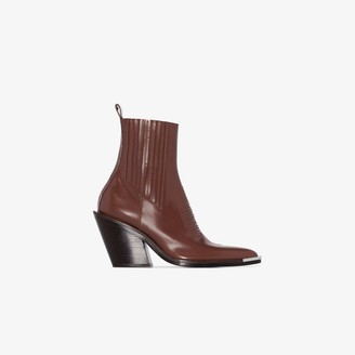 Paco Rabanne Brown 100 Pointed Toe Leather Ankle Boots