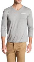 Autumn Cashmere Contrast Seam V-Neck Shirt