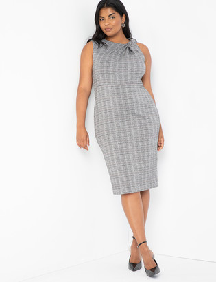 ELOQUII Twist Neck Plaid Dress