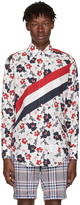 Thom Browne Tricolor Classic Stripes & Floral Outline Shirt