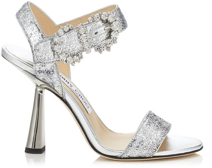Jimmy Choo SERENO 100 Silver Galactica Glitter Fabric Sandals with Jewelled Buckle
