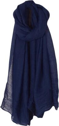 Lunji Ladies Linen Shawl - Lightweight Soft Long Wrap Scarf (Sky blue)