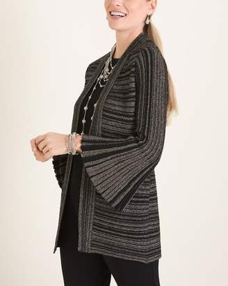 Travelers Collection Lurex Striped Bell-Sleeve Cardigan
