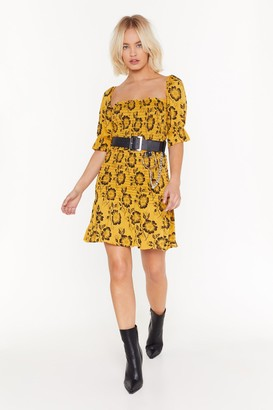 Nasty Gal Womens Floral fully shirred square neck mini dress - Yellow - 4