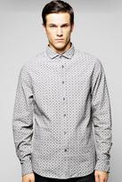 Boohoo All Over Print Chambray Shirt