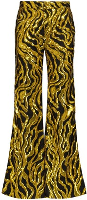 Halpern Sequin-Embellished Flared Trousers