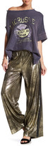 Free People Vegan Leather Gold Track Pant