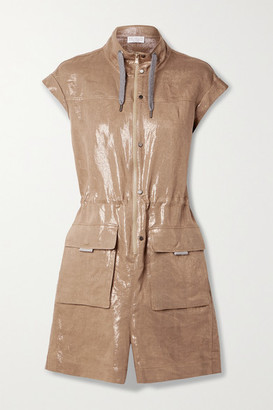 Brunello Cucinelli Metallic Linen-twill Playsuit - Brown