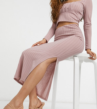 ASOS DESIGN Petite set thick rib side split midi skirt in blush