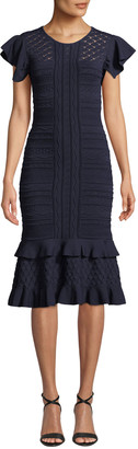 Sachin + Babi Shivon Ruffled Cap-Sleeve Knit Dress