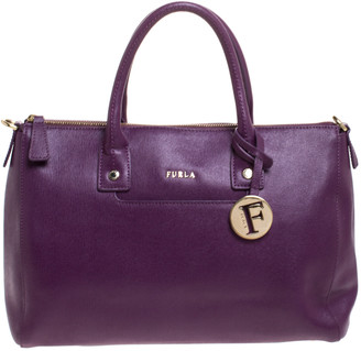Furla Purple Leather Medium Linda Tote