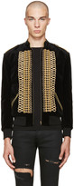 Saint Laurent Black Velvet Military Teddy Bomber Jacket