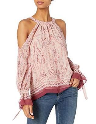 BCBGMAXAZRIA Women's Long Sessilee Woven Cold Shoulder Floral Paisley Top