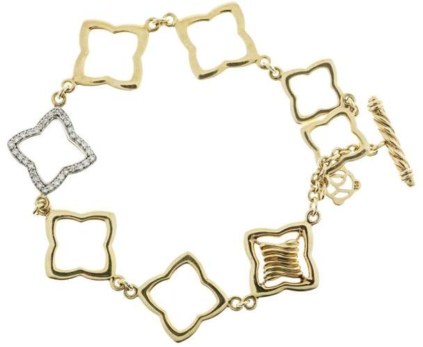 David Yurman 18K Yellow and White Gold with 0.32ct Diamond Link Toggle Bracelet