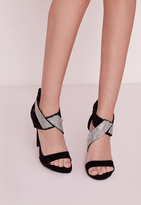 Missguided Diamante Ankle Strap Heeled Sandals Black