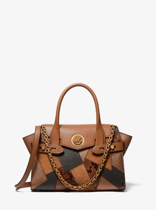 MICHAEL Michael Kors Carmen Small Patchwork Embossed Leather Belted Satchel