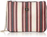 Tommy Hilfiger Honey Flat Crossover Canvas Stripe, Women's Cross-Body Bag, Beige (Rwb Stripe)