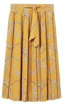 MANGO Chain print pleated skirt