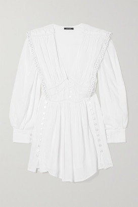 Isabel Marant Yaxo Crochet-trimmed Gathered Cotton-voile Mini Dress - White