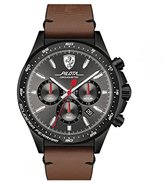 Ferrari Men's 'PILOTA' Quartz Stainless Steel and Leather Casual Watch, Color:Brown (Model: 0830392)